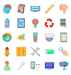 remote support icons set cartoon style vector image
