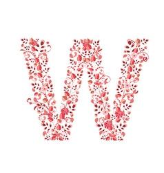 Romantic floral letter w vector