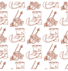 Seamless pattern with violin and old shoes vector