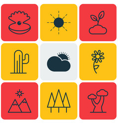 Set of 9 nature icons includes sun landscape vector
