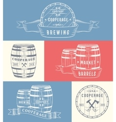 Set Wooden Casks Badges and Cooperage Logo vector image