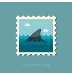 Shark fin flat stamp vector
