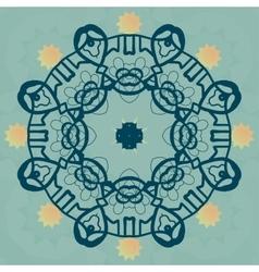 Stylized mandala flower on green banner vector image vector image