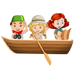 Three kids riding on rowboat vector image vector image
