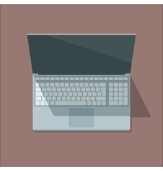 Top view laptop in flat style vector image