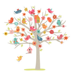 tree and birds vector image vector image