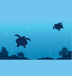 Underwater landscape with turtle art vector