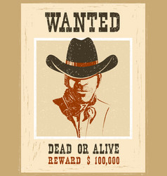 wanted posterwestern vintage paper vector image vector image
