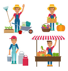 young farmer with milk can garden tools and vector image