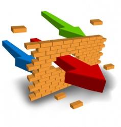 arrow punching wall vector image