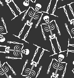 Skeleton seamless pattern bones and skull ornament vector