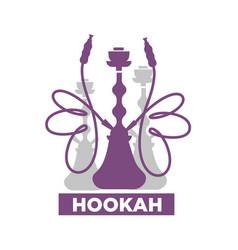 Hookah lounge bar isolated emblem with shisha vector