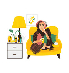 woman having flu sitting sick at home vector image