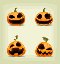 High quality cartoon halloween pumpkin with scary vector