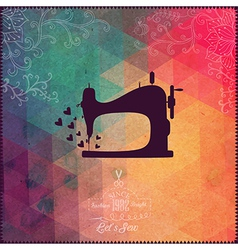 Old sewing machine on hipster background made of vector