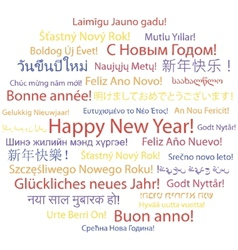 Happy new year in different languages vector