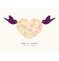 Warm flowers birds holding heart silhouette vector