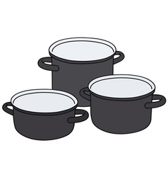 Black pots vector