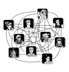 Social network people connection avatars vector