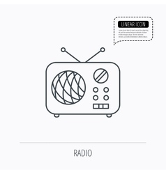 Radio icon retro musical receiver sign vector