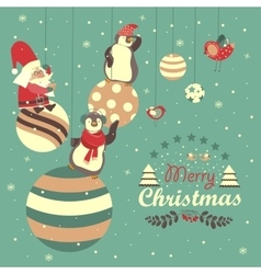 Funny penguins with santa claus celebrating vector