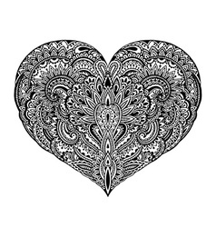 Beautiful hand drawn ornate heart in zentangle vector