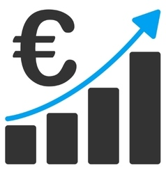 Euro bar chart icon vector