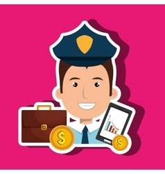 Police with portfolio and coins isolated icon vector
