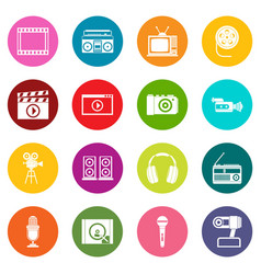 audio and video icons many colors set vector image