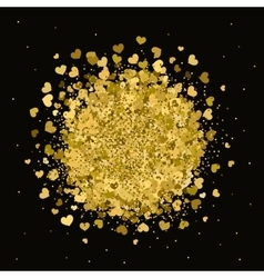 background with glitter and gold hearts vector image