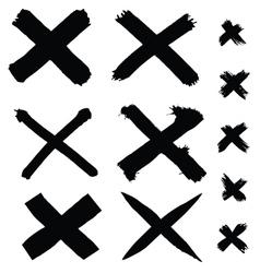 Black painted cross vector
