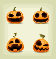 Cartoon halloween pumpkin laugh expression set vector