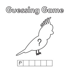 Cartoon parrot guessing game vector