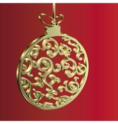 Christmas ball gold vector