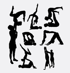 Couple yoga male and female silhouette vector