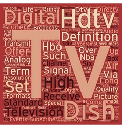 Dish tv hdtv text background wordcloud concept vector