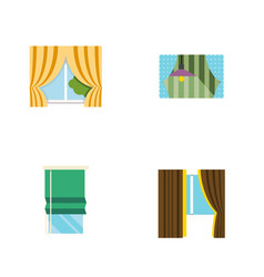 flat icon window set of glass frame curtain vector image vector image