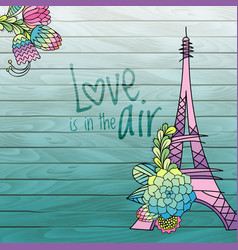 Flower love card design with eiffel tower vector