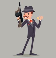 Gangster with submachine gun thug criminal vector