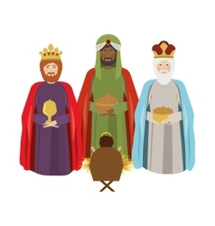 Half body wise man with offering a baby jesus vector