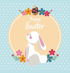 Happy easter bunny with flowers dots background vector