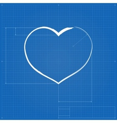 Heart symbol like blueprint drawing vector image