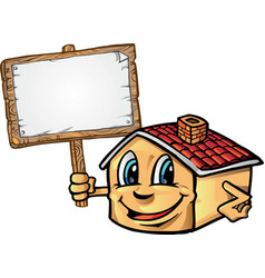 house cartoon with signboard vector image vector image