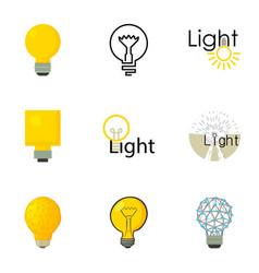 Light bulb logo icons set cartoon style vector