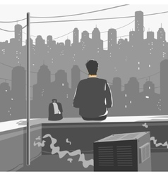 Man Sitting on Roof of Skyscraper vector image vector image