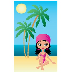 pretty girl on beach vector image