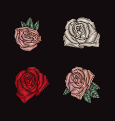 roses embroidery on black background vector image