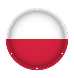 round metallic flag of poland with screw holes vector image vector image