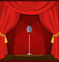 scene with red curtains and retro microphone vector image