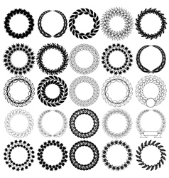 Set black laurel wreath on the white background vector
